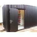 Mobile shelving in storage container
